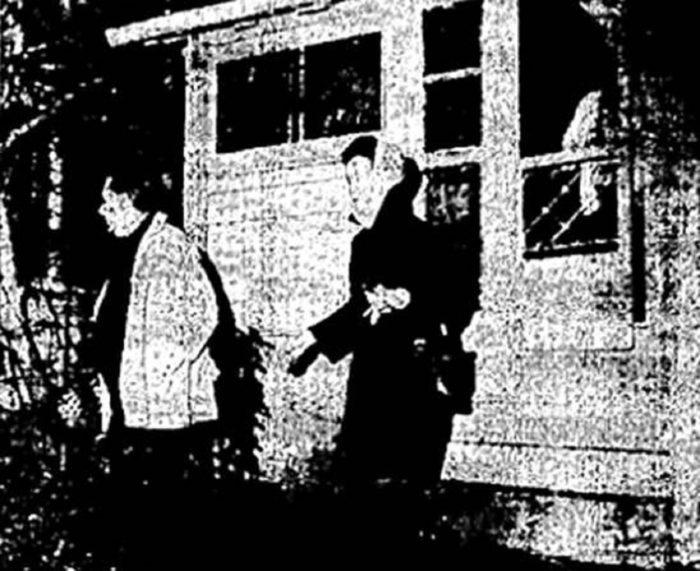 Ed and Lorraine Warren leaving Lindley Street