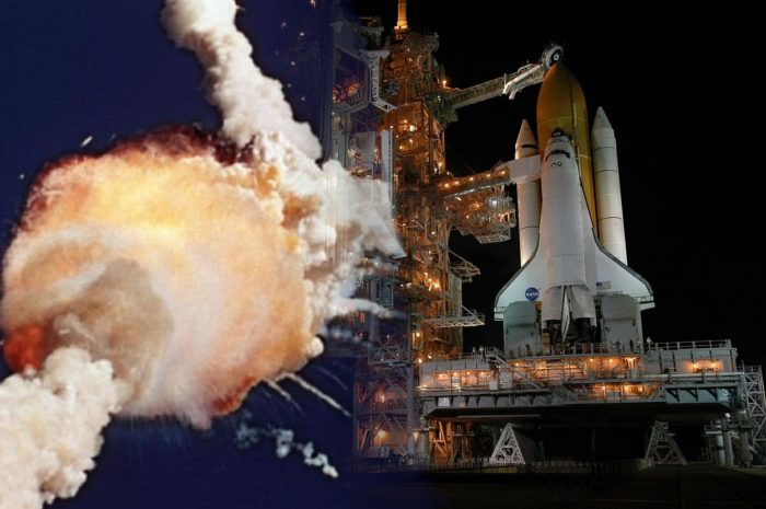 A merged picture of a shuttle on a launchpad with the Challenger disaster