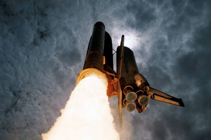 A Space Shuttle ascending into space