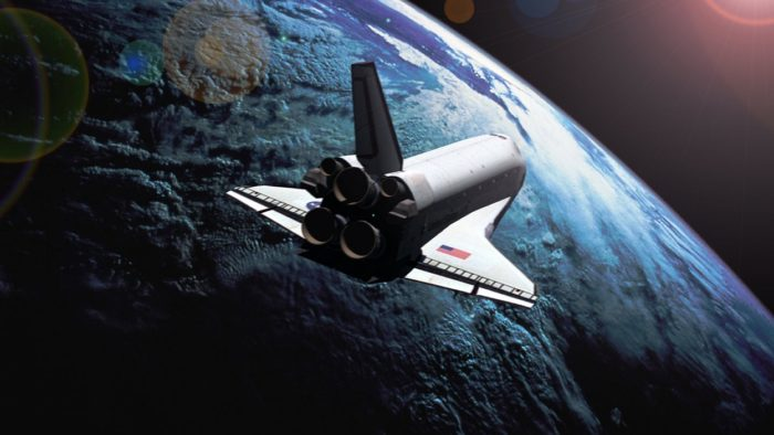 A Space Shuttle orbiting the Earth