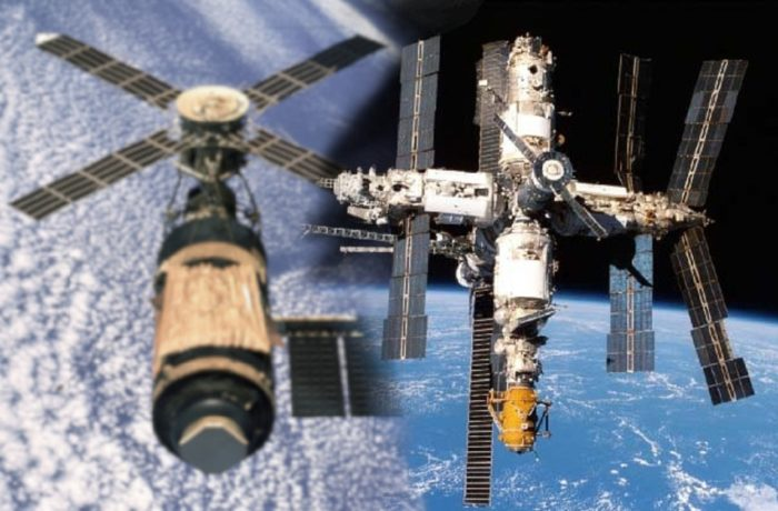 Blended image showing the Skylab and Mir space stations