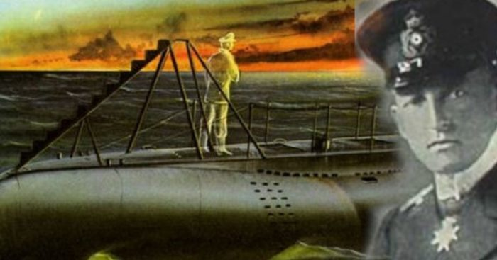 Depiction of a submarine with a ghost on the deck