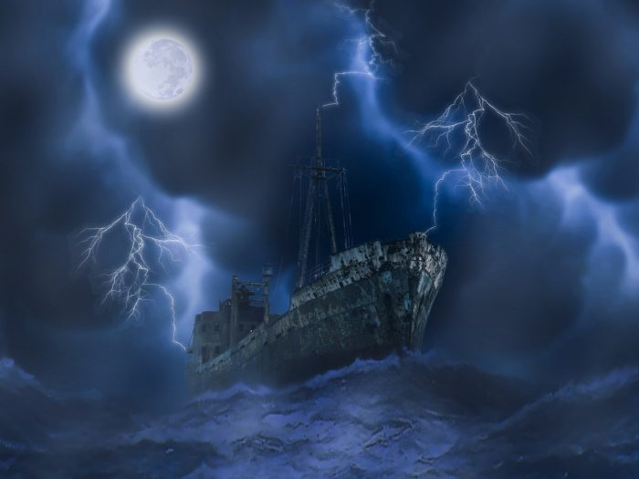 Depiction of a haunted ship