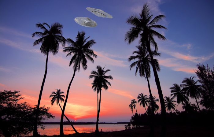 A UFO superimposed over a picture of Sri Lanka