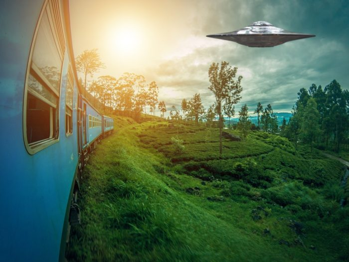 Superimposed UFO over a picture of Sri Lanka