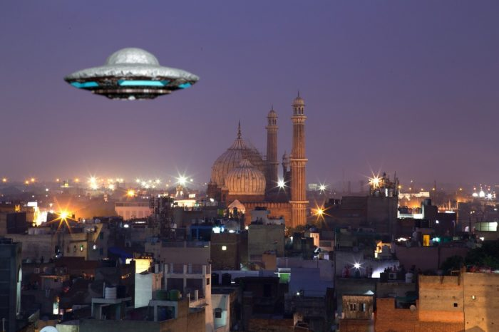 A UFO superimposed over a picture of India