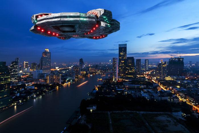 Superimposed UFO over Thailand