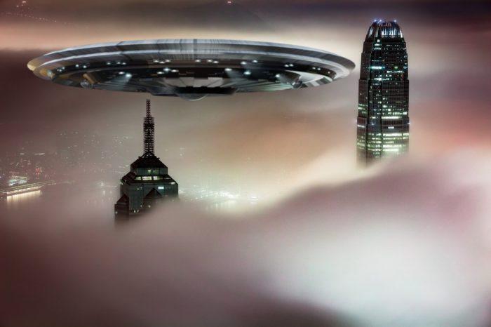 Superimposed UFO over Hong Kong