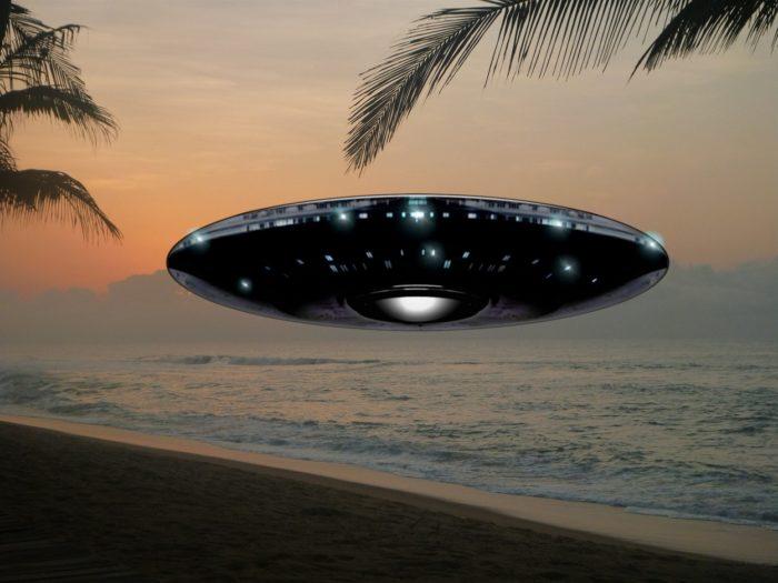 Superimposed UFO on a beach