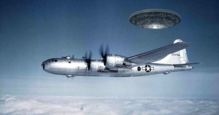A bomber plane with a superimposed UFO behind it