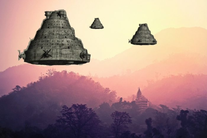 Superimposed Vimana over a picture of India