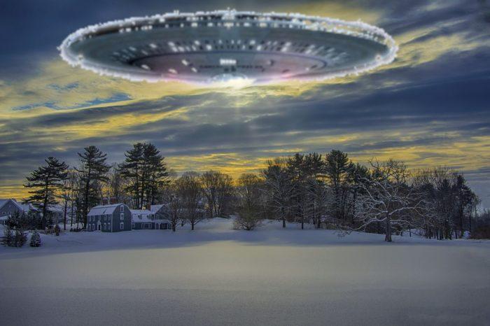 A UFO superimposed over a snowy scene