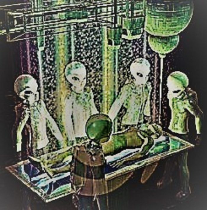 A depiction of aliens around an alien abductee