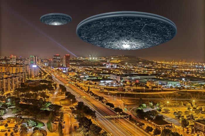 A superimposed UFO over Barcelona