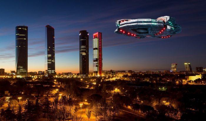 A superimposed UFO over Madrid
