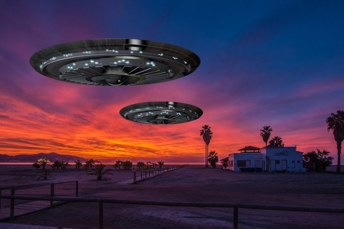 A depiction of a UFO over Spain