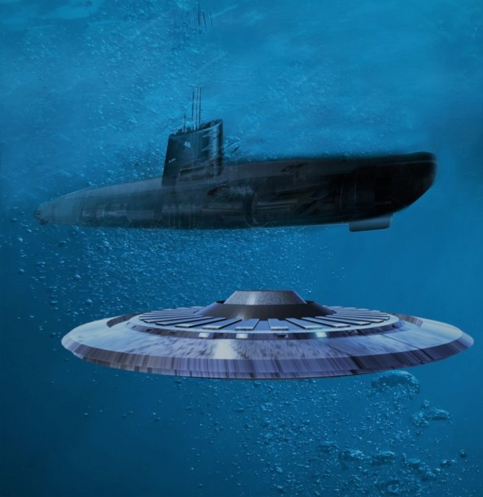 A depiction of a UFO and a submarine