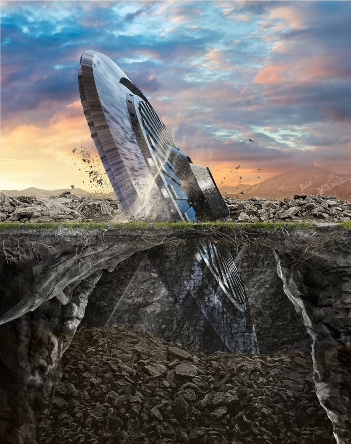 A depiction of a crashed UFO