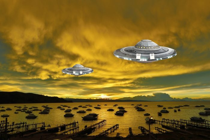 Depiction of two UFOs flying over a harbor