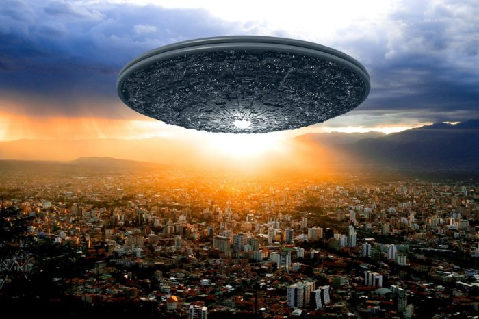 A depiction of a UFO over Bolivia