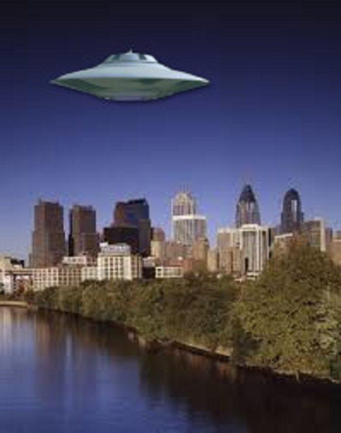 A superimposed UFO over Philadelphia