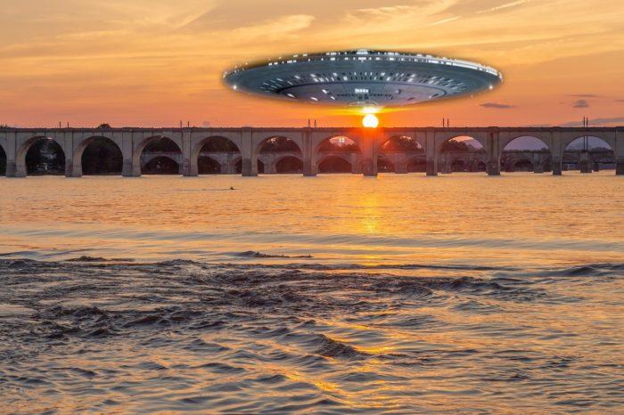 A superimposed UFO over a river