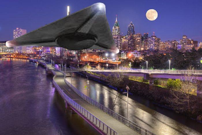 A superimposed triangular UFO over Pennsylvania