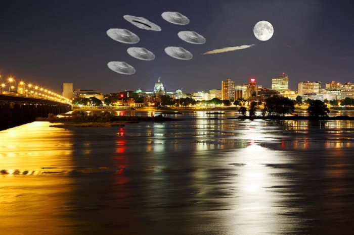 Several superimposed UFOs over a lake