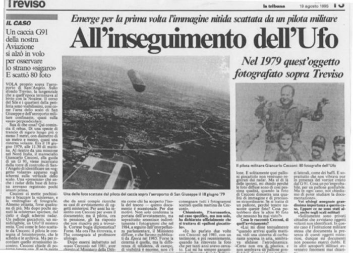 A newspaper clipping of the UFO encounter