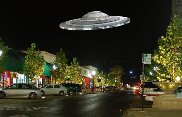 A superimposed UFO over California
