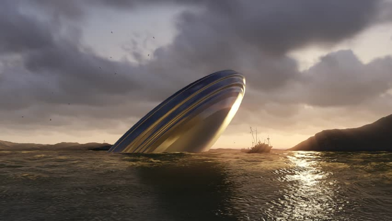 Artist's impression of a UFO in water