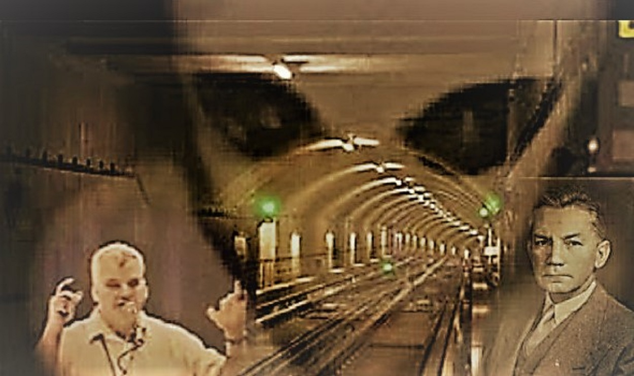 A superimposed picture of an alien over a tunnel with two people