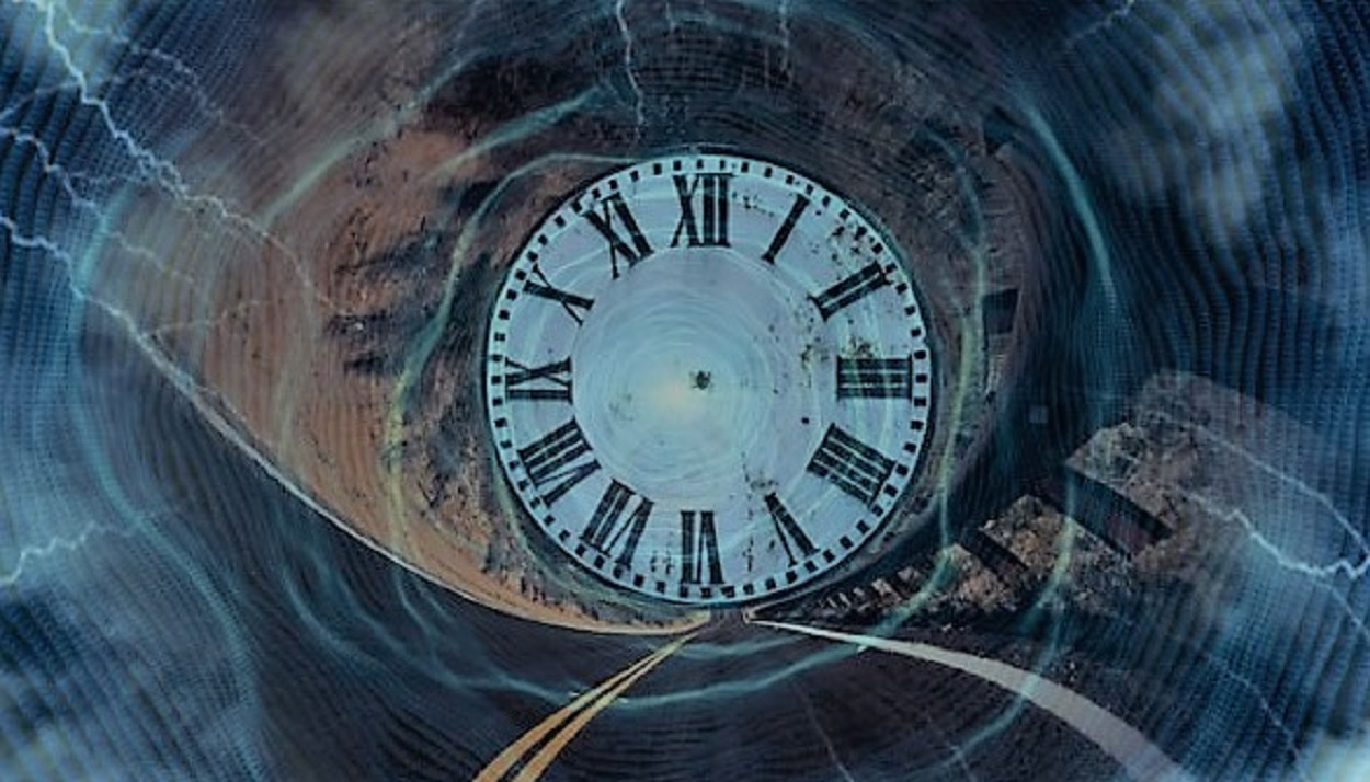 A clock with a superimposed depiction of a time tunnel over the top